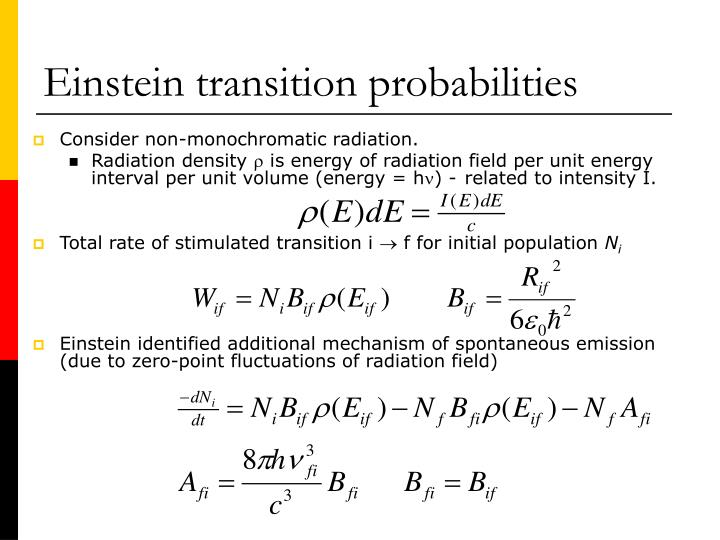 Einstein transition probabilities