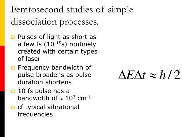 Femtosecond studies of simple dissociation processes.