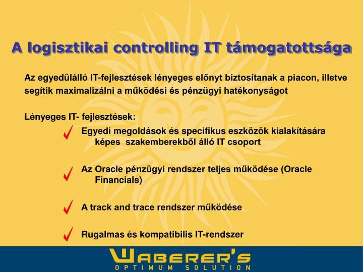 A logisztikai controlling IT támogatottsága