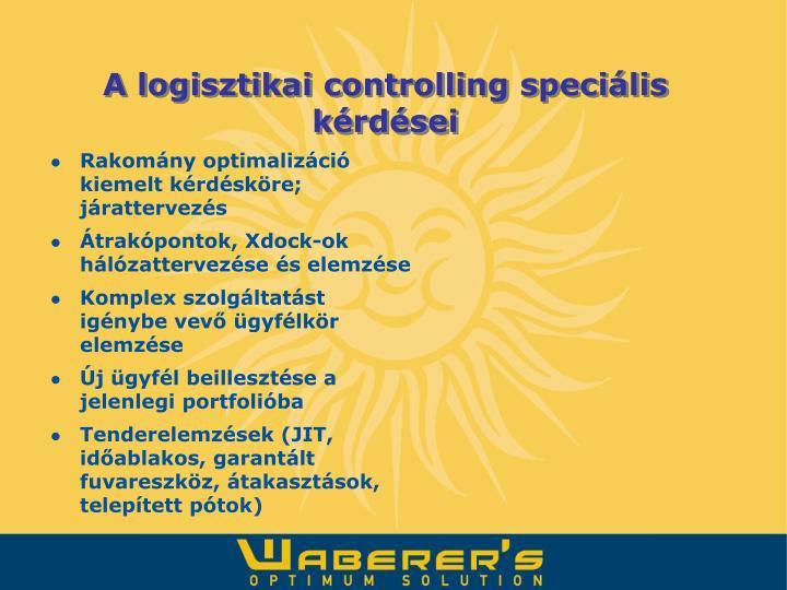 A logisztikai controlling speciális kérdései