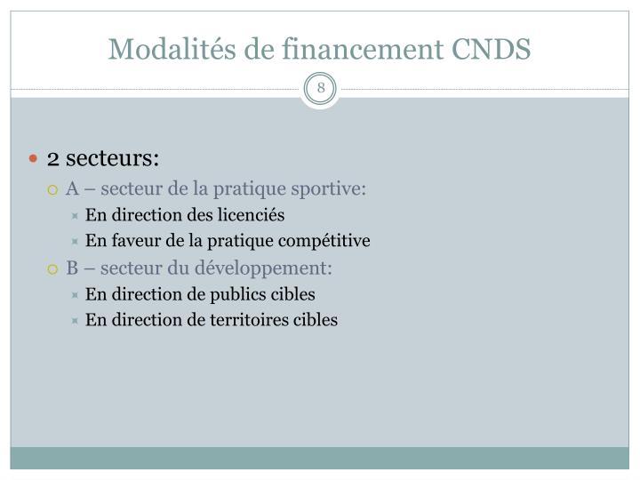 Modalités de financement CNDS