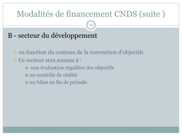 Modalités de financement CNDS (suite )