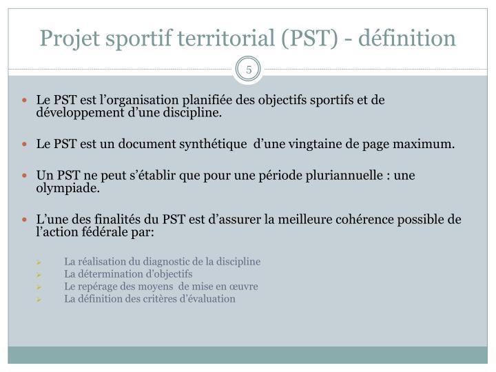 Projet sportif territorial (PST) - définition