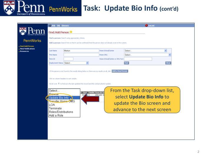 Task:  Update Bio Info