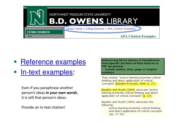 Reference examples
