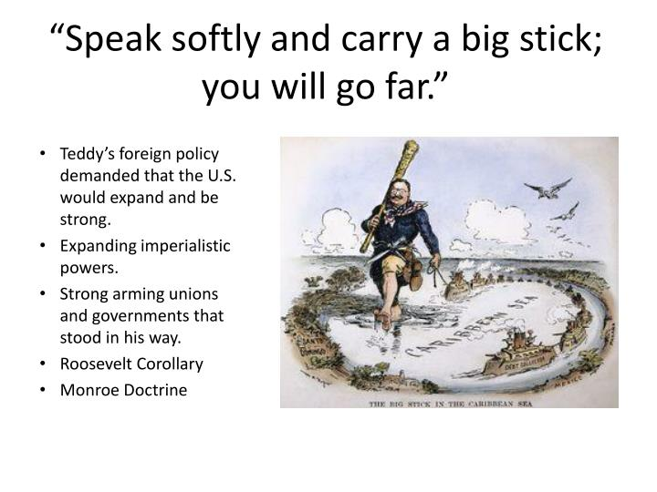 """Speak softly and carry a big stick; you will go far."""