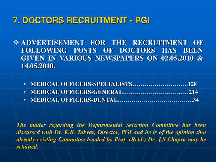 7. DOCTORS RECRUITMENT - PGI