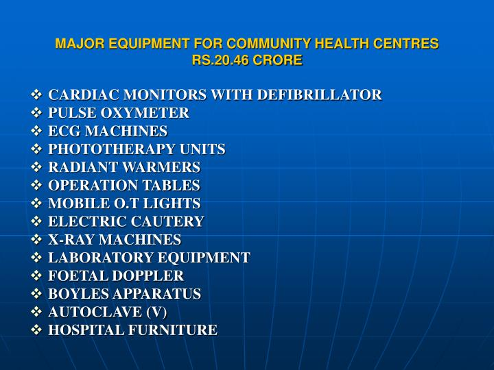 MAJOR EQUIPMENT FOR COMMUNITY HEALTH CENTRES RS.20.46 CRORE