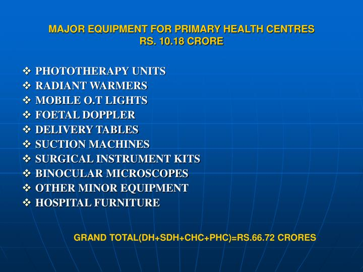 MAJOR EQUIPMENT FOR PRIMARY HEALTH CENTRES