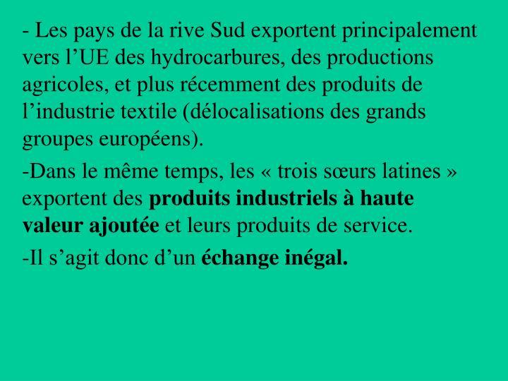 Les pays de la rive Sud exportent principalement vers l'UE des hydrocarbures, des productions agricoles, et plus récemment des produits de l'industrie textile (délocalisations des grands groupes européens).