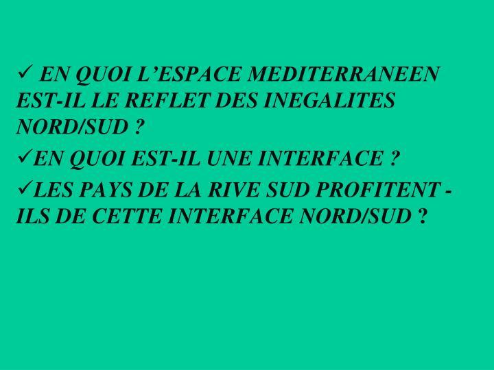 EN QUOI L'ESPACE MEDITERRANEEN EST-IL LE REFLET DES INEGALITES NORD/SUD?