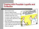 coping with possible layoffs and cutbacks1