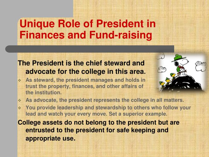 Unique Role of President in Finances and Fund-raising