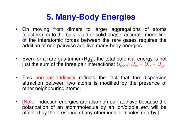 5. Many-Body Energies