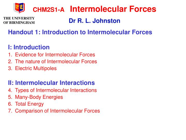 Chm2s1 a intermolecular forces dr r l johnston