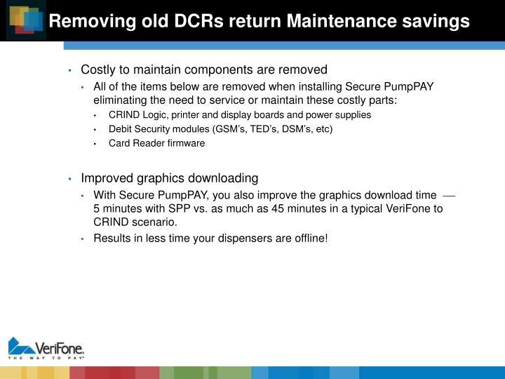Removing old DCRs return Maintenance savings