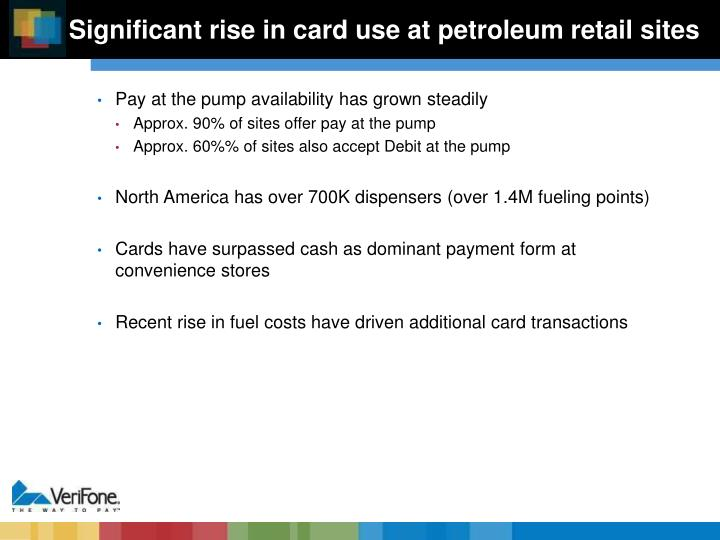 Significant rise in card use at petroleum retail sites