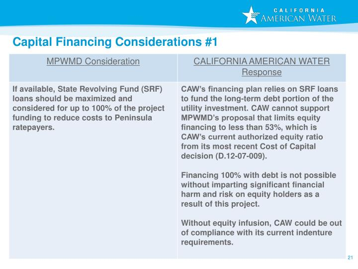 Capital Financing Considerations #1