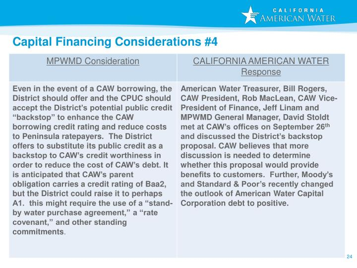 Capital Financing Considerations #4