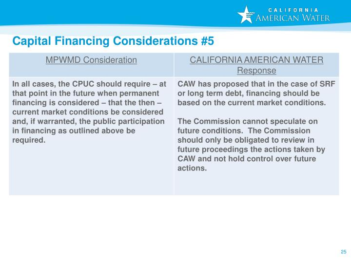 Capital Financing Considerations #5