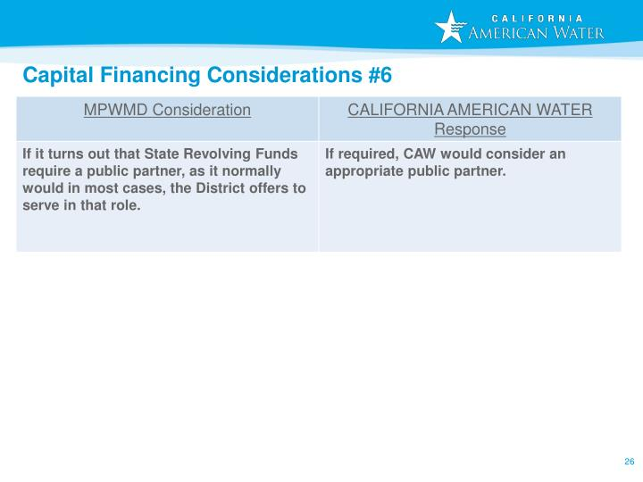 Capital Financing Considerations #6