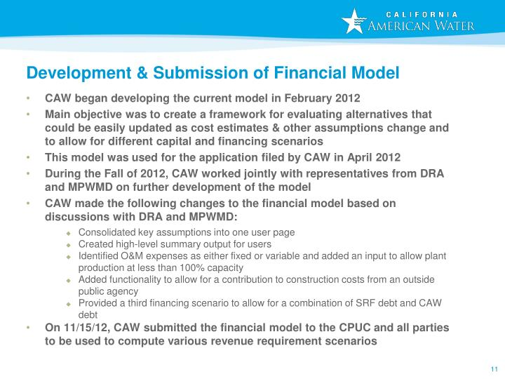 Development & Submission of Financial Model
