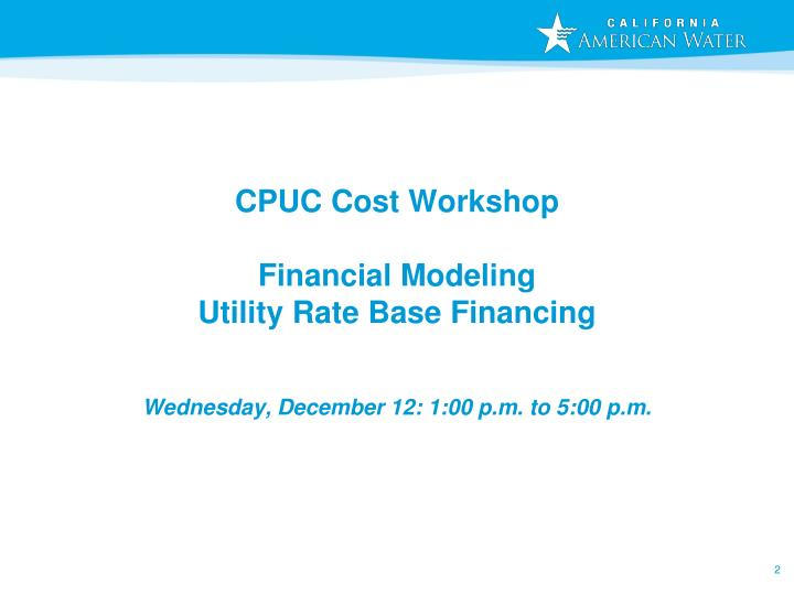 CPUC Cost Workshop