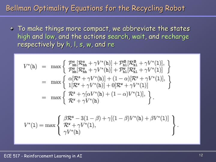 Bellman Optimality Equations for the Recycling Robot