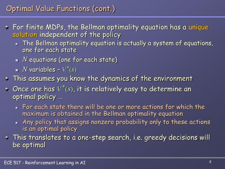 Optimal Value Functions (cont.)