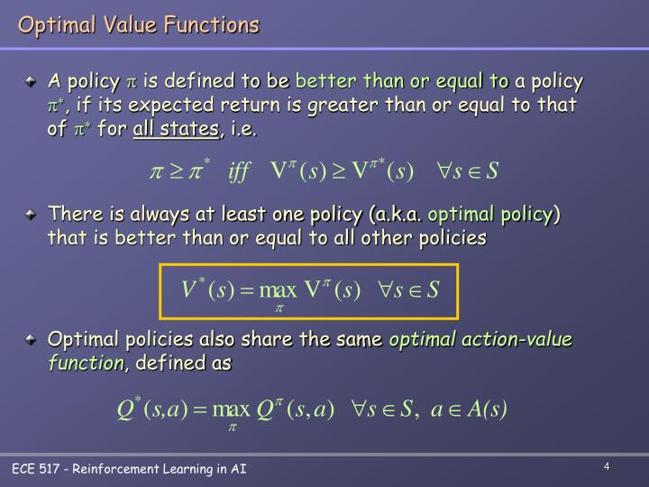 Optimal Value Functions