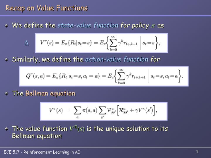 Recap on Value Functions
