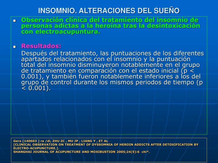 INSOMNIO. ALTERACIONES DEL SUEÑO