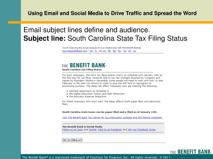 Email subject lines define and audience.