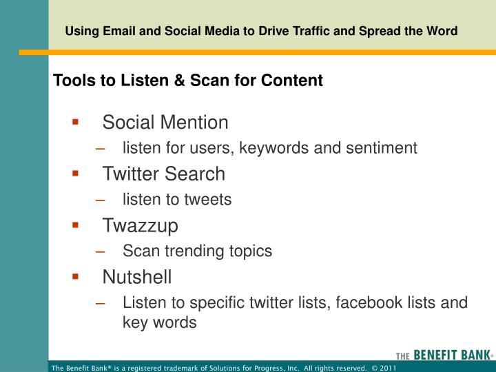 Tools to Listen & Scan for Content