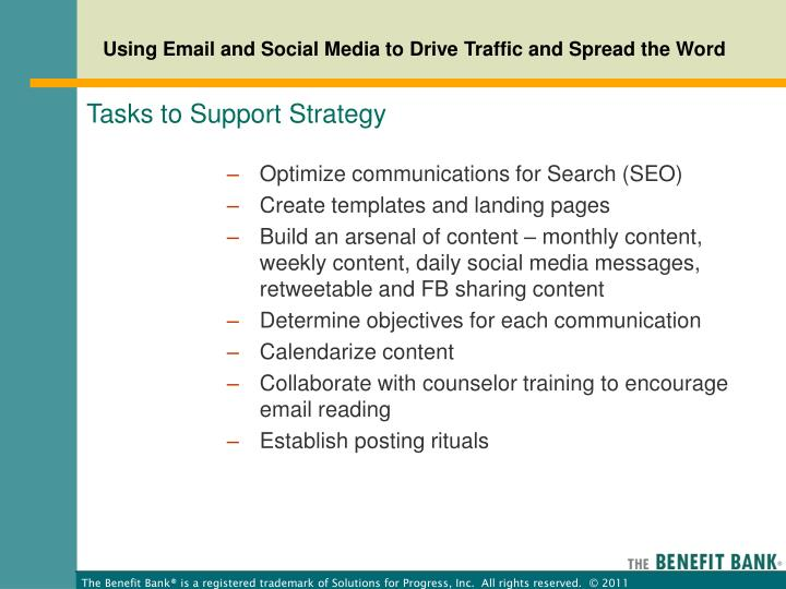 Tasks to Support Strategy