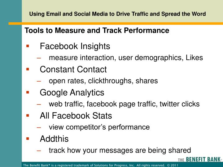 Tools to Measure and Track Performance