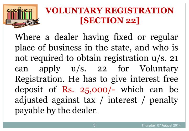 VOLUNTARY REGISTRATION [SECTION 22]