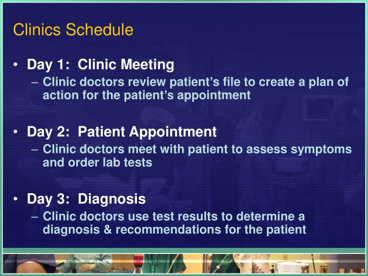 Clinics Schedule