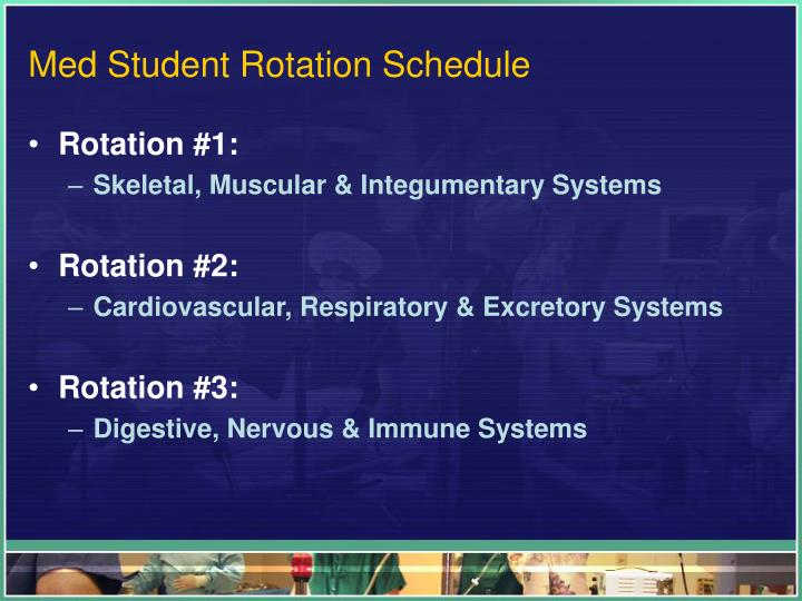 Med student rotation schedule
