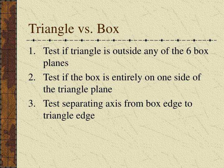 Triangle vs. Box