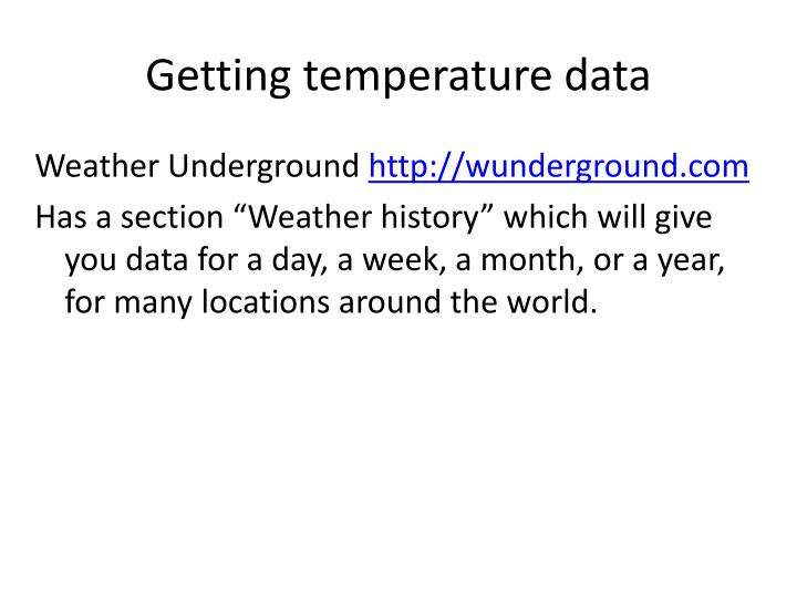 Getting temperature data