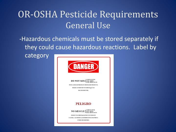 OR-OSHA Pesticide Requirements