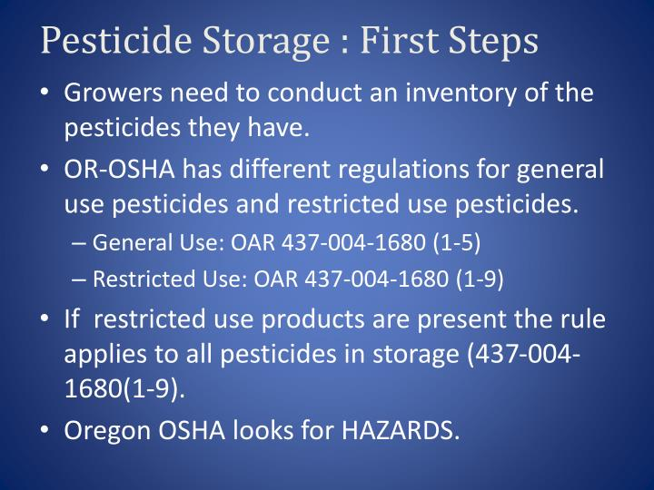 Pesticide Storage : First Steps