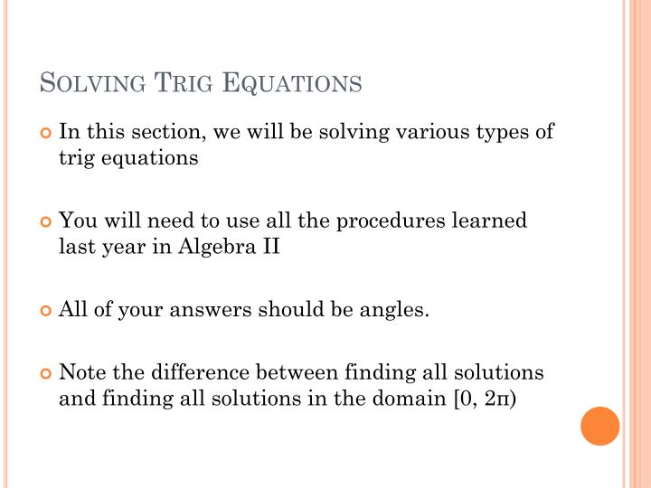 Solving trig equations1