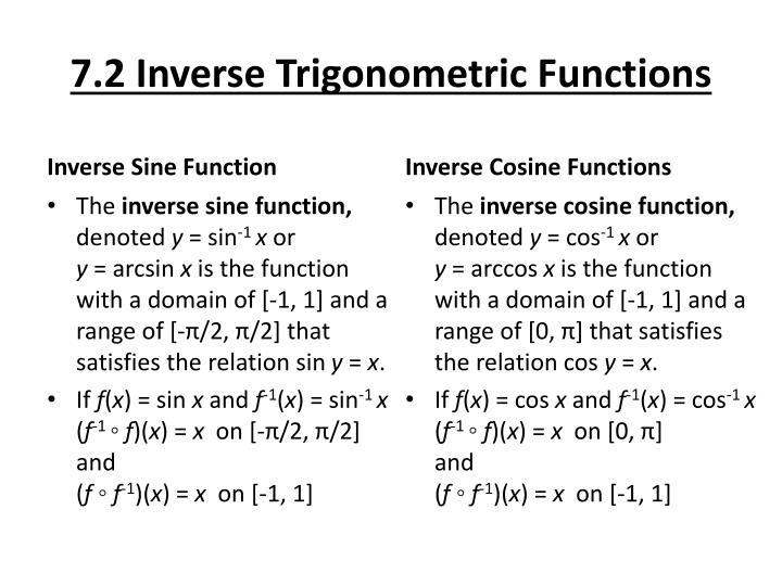 7.2 Inverse Trigonometric Functions