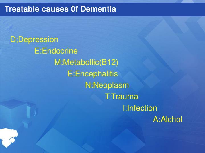 Treatable causes 0f Dementia