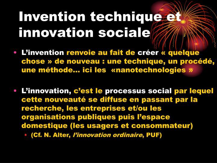 Invention technique et innovation sociale