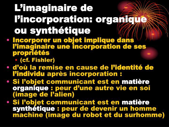 L'imaginaire de l'incorporation: organique ou synthétique