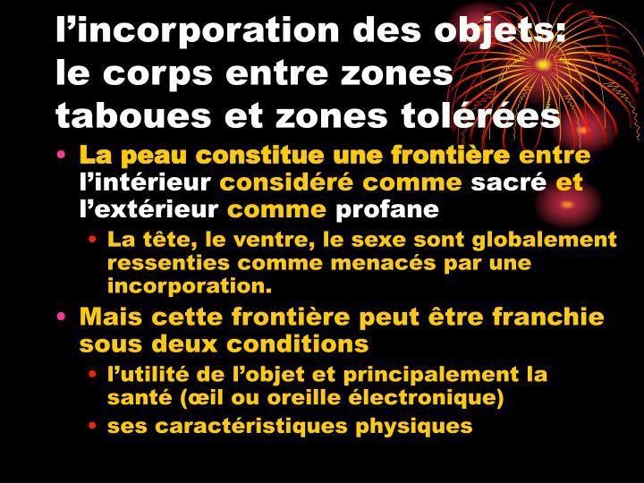 l'incorporation des objets: le corps entre zones taboues et zones tolérées