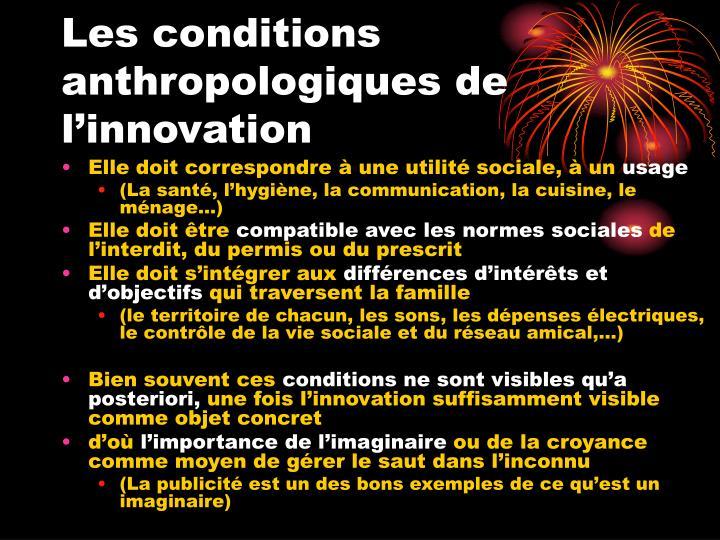 Les conditions anthropologiques de l'innovation